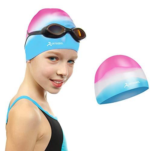 arteesol Badekappe für Kinder Jungen und Mädchen im Alter von 5 bis 12 Jahren - wasserdichte Badekappen...