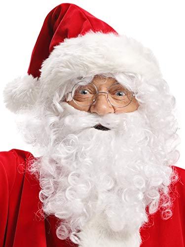 Perücke + Bart + Mütze + Augenbrauen + Brille Weihnachtsmann Nikolaus Santa Claus Weihnachten weiß