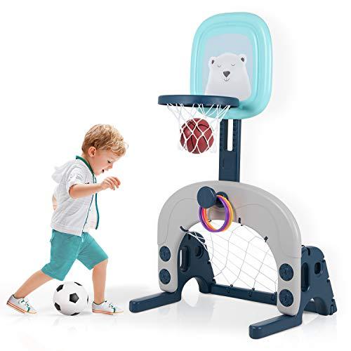 Kinder Basketballkorb Set, 3 in 1 höhenverstellbarer Basketballständer & Fußballtor & Wurfspiel für...