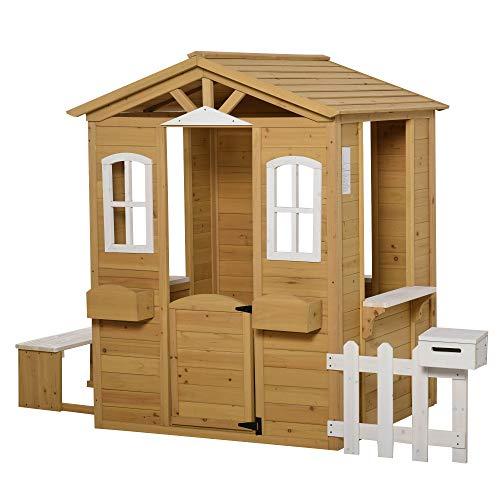 Outsunny Kinderspielhaus mit Fenster Briefkasten Outdoor Gartenspielhaus mit Blumentopfrack Zaun Bank...