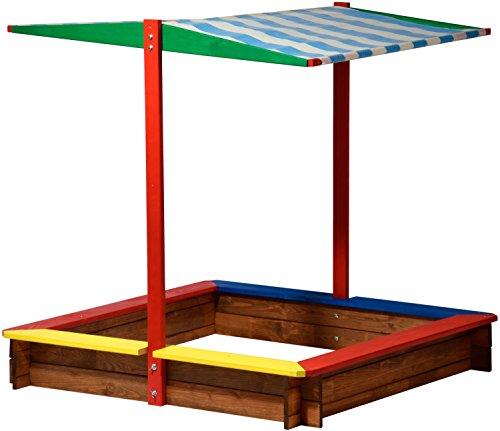 dobar 94355FSC - Sandkasten Holz mit Dach, groß XL viereckig, Sandkiste Sonnendach für Kinder Outdoor,...