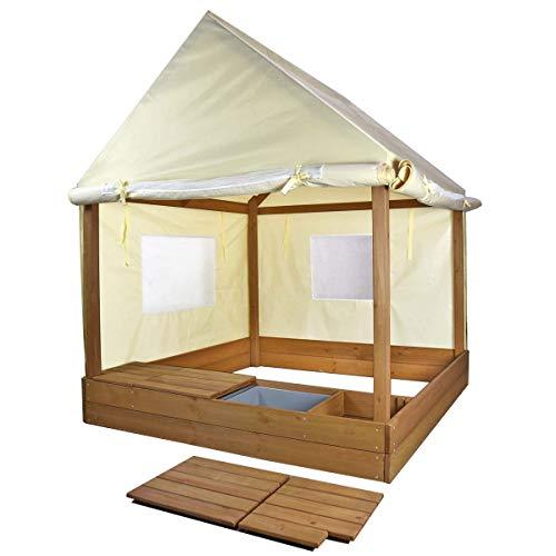 Meppi Sandkasten mit Dach und Seitenwänden - Stylische Sandkiste für Ihr Zuhause - Sandkastenhaus -...