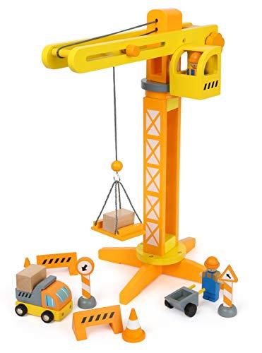 Small Foot 12007 Baukran aus Holz, FSC 100%-Zertifiziert, mit Baustellenzubehör, 13 Teile, 360 Grad...