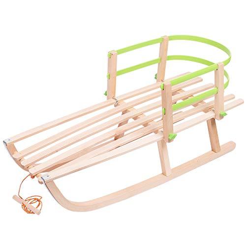 Holzschlitten Kinderschlitten aus Buchenholz Kunststoff Rückenlehne inkl. Zugseil Schlitten Lehne...