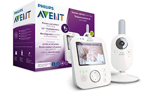 Philips Avent Babyphone mit Kamera SCD843/26 - 3,5 Zoll Farbdisplay, Tag und Nachtsicht, Scroll- und...