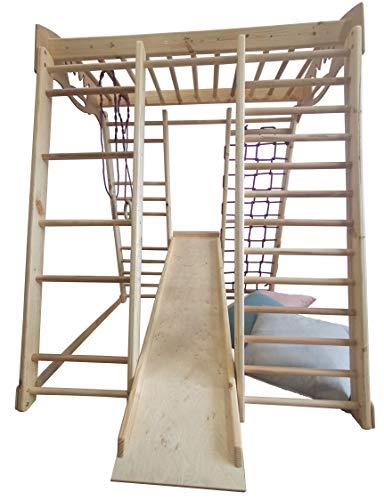 Kinder zu Hause aus Holz Spielplatz mit Rutschbahn ˝Akvarelka-Lak˝ Kletternetz Ringe Kletterwand...