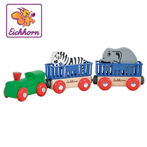 Eichhorn 100001351 - Tierzug, 5-tlg., Lok mit 2 Wagons und 2 Tieren: Zebra/ Elefant, 24cm, FSC 100%...
