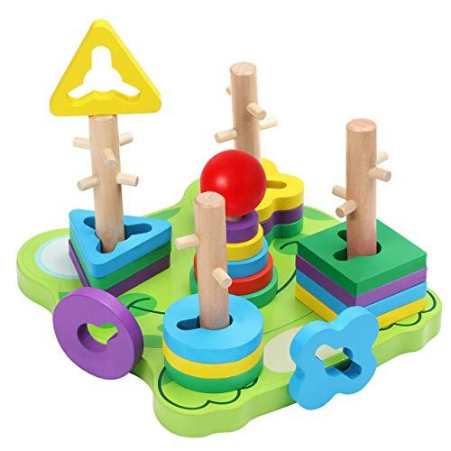 Belle Vous Steckspiel Frosch Holz Puzzle Sortierspiel (23-teilig) - Geometrisches Motorikspielzeug zum...