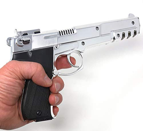 Brigamo Spielzeug Pistole Terminator Lizenz Spielzeug Waffe Kinder Pistole in Chrom Optik