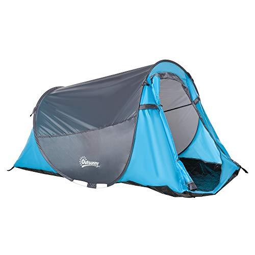 Outsunny Pop up Zelt für 1-2 Personen Campingzelt für 3 Jahreszeiten Polyester Glasfaser Blau+Grau 220...