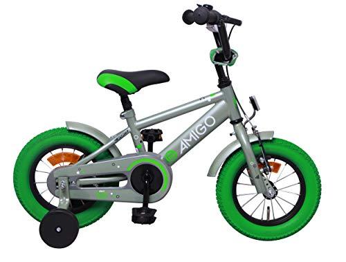 Amigo Sports - Kinderfahrrad für Jungen - 12 zoll - mit Handbremse, Rücktritt, Lenkerpolster und...