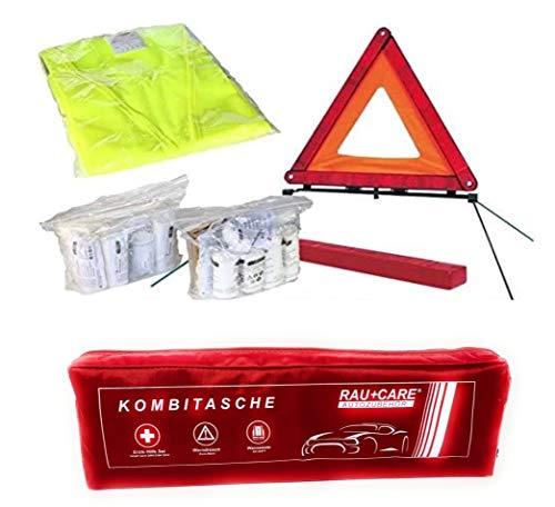 PKW KFZ Verbandkasten Verbandtasche Warndreieck Warnweste Erste Hilfe Kombitasche rot, Erste Hilfe nach...