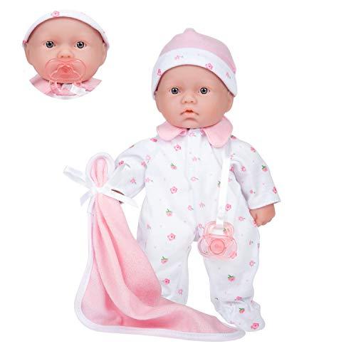 JC Toys – La Baby Puppe mit weichem Körper, 27,9 cm, waschbar, abnehmbar, Rosa, mit Hut und Decke,...