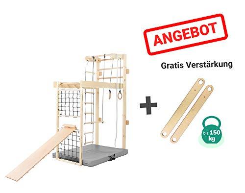 Kidsmont Kombi-Sprossenwand 5-in1 bis 150 KG Abnehmbarr Klappbar Klettergerüst Kletterwand Sport Gym...