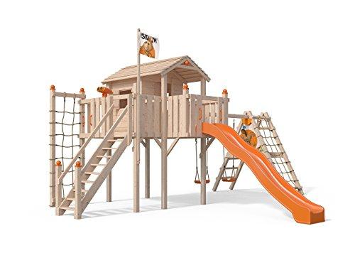 Terrizio XL-Spielturm Baumhaus mit erweitertem Schaukelanbau und Sicherheitstreppe, Rutsche,...
