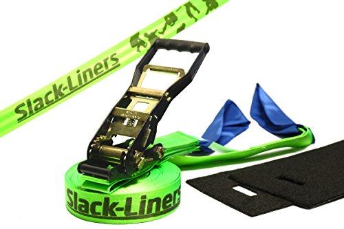 Slack-Liners 4 Teiliges Slackline-Set LEUCHTGRÜN - 50mm breit, 15m lang - mit Langhebelratsche Made in...