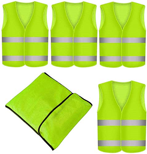 4 Stück Warnweste Neon Gelb - Waschbar - 360 Grad Reflektierende Sicherheitsweste mit Tasche
