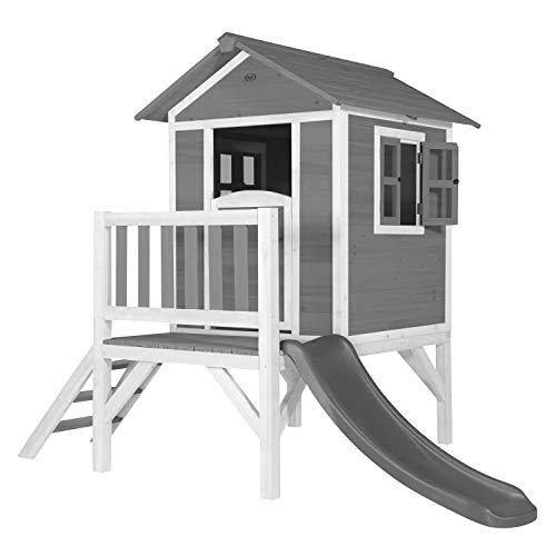AXI Spielhaus Beach Lodge XL in Grau mit Rutsche in Grau | Stelzenhaus aus FFC Holz für Kinder | Kleiner...