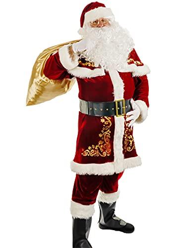 Togake Weihnachtsmann-Kostüm für Herren, 12-teiliges Set, Deluxe-Samtanzug für Erwachsene, Größe 3XL