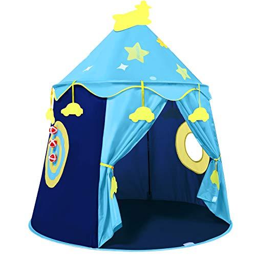 Peradix Spielzelt Prinzenschloss Zelt für Jungs Kleinkinder Pop-up Indianerzelt mit Tragetasche,...