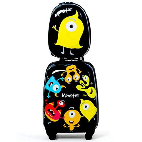 COSTWAY 2tlg Kinderkoffer + Rucksack, Kindertrolley aus Kunststoff, Kindergepäck, Kinder Kofferset...