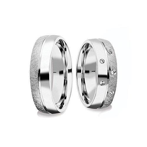 Eheringe Verlobungsringe Paar-Preis Trauringe Freundschaftsringe Silber 925 AMOONIC mit Zirkonia Ringpaar...
