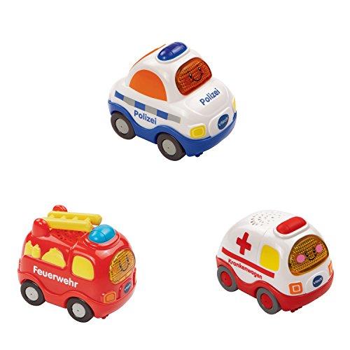 VTech Baby 80-205854 - Tut Tut Flitzer - Fahrzeug - Feuerwehr, Polizei, Krankenwagen, 3-er Set