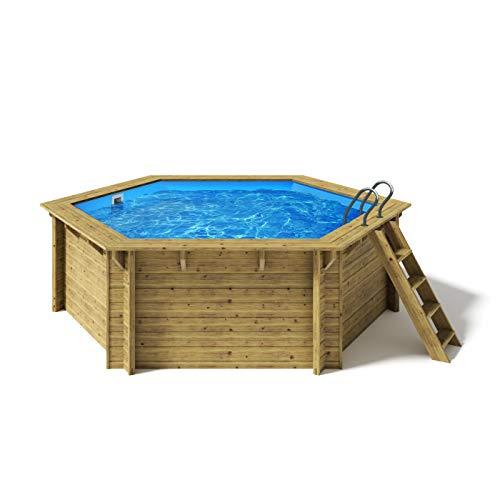 Paradies Pool® Holzpool Lani Einzelbecken inkl. Zubehör, Edelstahlleiter Tiefbecken, Blaue Folie mit...