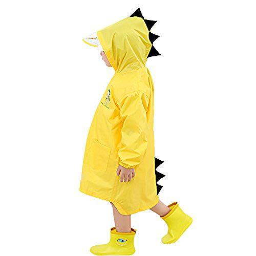 Kinder Regenmantel Kinder Regen Poncho für Jungen Mädchen Cartoon Wasserdicht Kind Kapuzen Regenjacke...