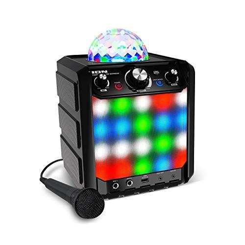 Ion Party Rocker Express - Karaoke Anlage Musikbox Bluetooth Lautsprecher mit Discokugel, LED Lichter,...