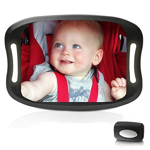 Baby-Autospiegel mit Fernbedienung Weiches LED-Licht Autospiegel Baby-Rückansicht,Rücksitzspiegel für...