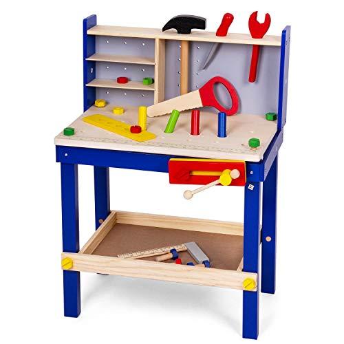 Leo & Emma - Kinderwerkbank mit Werkzeug aus Holz, Blau lackiert, 50tlg, Werkbank für Kinder aus Holz,...