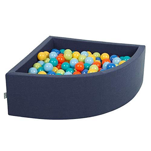 KiddyMoon Bällebad 90X30cm/200 Bälle Bällepool Mit Bällen ∅ 7Cm Für Babys Kinder Viertel Eckig,...