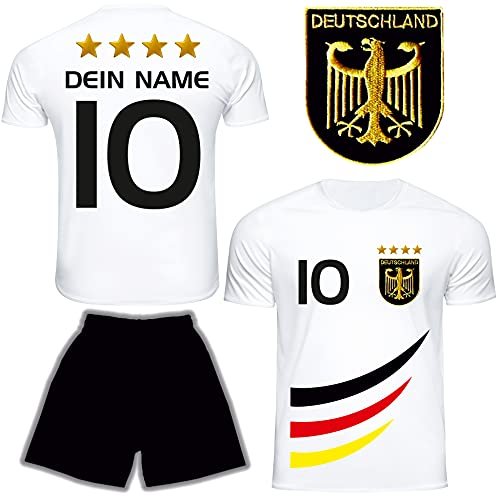 DE FANSHOP Deutschland Trikot mit Hose & GRATIS Wunschname + Nummer #D4 2021/2022 EM/WM Weiss - Geschenk...