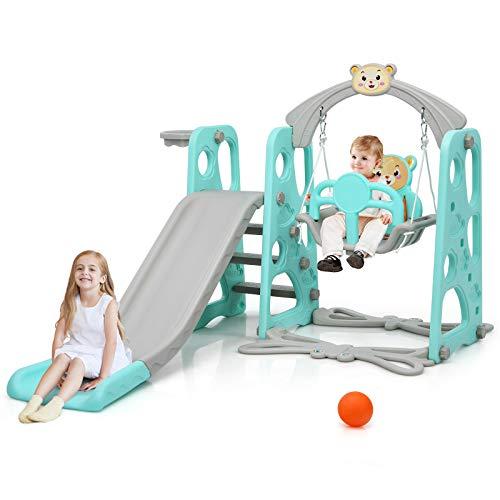 GOPLUS 3 in 1 Spielplatz, Spielplatz mit Kinderrutsche & Schaukel & Basketballkorb & Leiter, Spielturm...