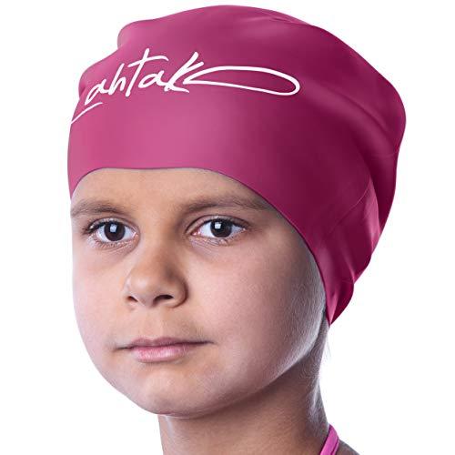Badekappe Kinder Lange Haare - Badekappe für Mädchen Jungen Kids Teens mit langem lockigem Haar Zöpfe...