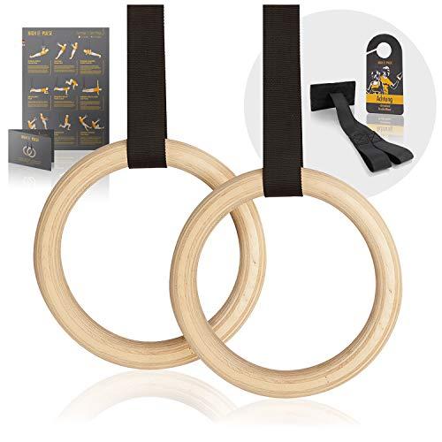 High Pulse® Turnringe inkl. Türanker, Türschild + Übungsposter – Gymnastikringe aus Holz für EIN...