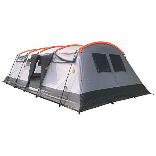 Skandika Tunnelzelt Hurricane für 12 Personen | Großes Zelt mit 2 Schlafkabinen, mit/ohne eingenähtem...