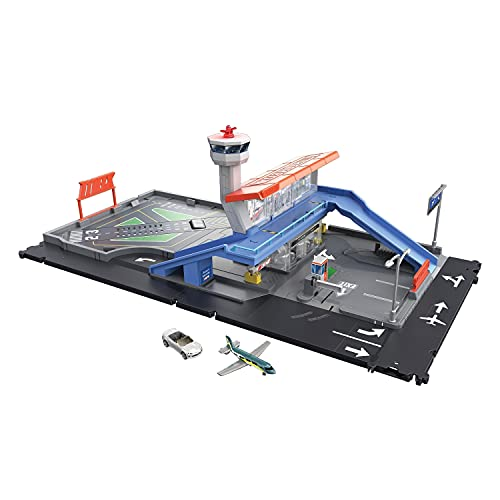 Matchbox HCN34 - Action Drivers Flughafenabenteuer Spielset, mit 1 Fahrzeug im Maßstab 1:64 und ein...