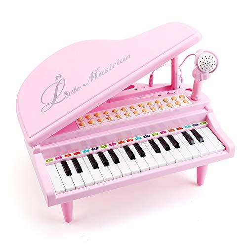 Amy&Benton Kinder Keyboard Spielzeug Rosa, 31 Tasten, Spielzeug Keyboard mit Mikrofon, Pink...