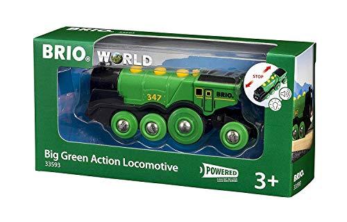 BRIO World 33593 Grüner Gustav elektrische Lok – Batterie-Lokomotive mit Licht & Sound –...