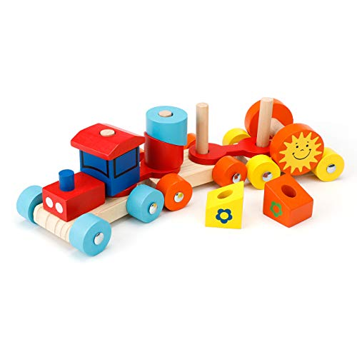 EXTSUD Kinder Holz Zug Steckspiel Stapelspiel Montessori Spielzeug mit Geschenkbox Holz Einsenbahn Bunte...