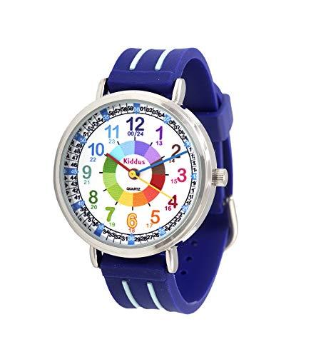 KIDDUS Lern Armbanduhr für Kinder, Jungen und Mädchen. Analoge Armbanduhr mit Zeitlernübungen,...