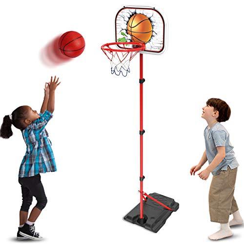 Basketballkorb Outdoor Basketballständer für Kinder Höhenverstellbar 78-170cm, mit 2 Bälle, Ständer,...