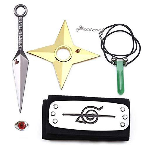 HUABAI Anime Naruto Cosplay Requisiten Zubehör 5 Sets, Stirnband Halskette Ring Spielzeug für Männer...