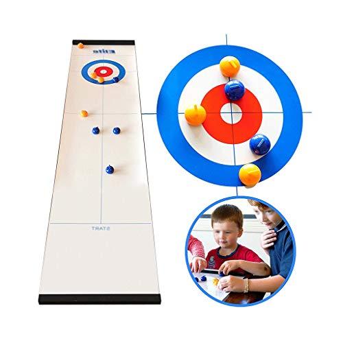 YYL Schnelles Sling Puck Spiel Tisch-Curling-Spiel Kompaktes Curling-Brettspiel mit 8 Rollen für...