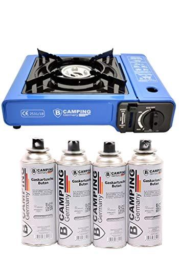 B Camping Gaskocher mit 4 Gaskartuschen Campingkocher 1-flammig max. Leistung 2,1 KW Farbe Blau oder...