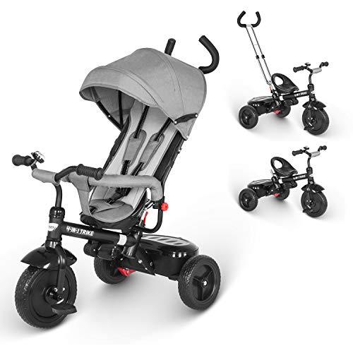 besrey Dreirad 4 in 1 Kinderdreirad Dreirad für Kinder Tricycle mit Schubstange Sonnendach ab 1-6 Jahre....