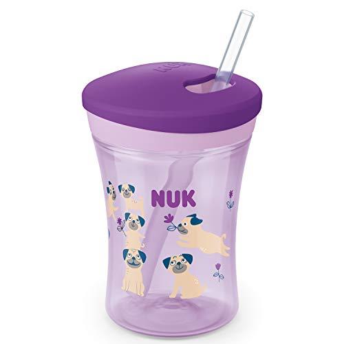 NUK Action Cup Trinklernflasche, weicher Trinkhalm, auslaufsicher, 12+ Monate, BPA-frei, 230ml, Hunde,...