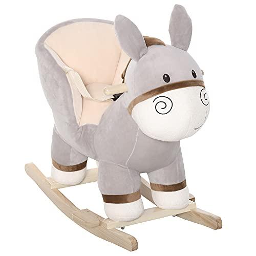 HOMCOM Kinder Schaukelpferd Baby Schaukeltier Esel mit Eselruf Spielzeug Haltegriffe für 18-36 Monate...